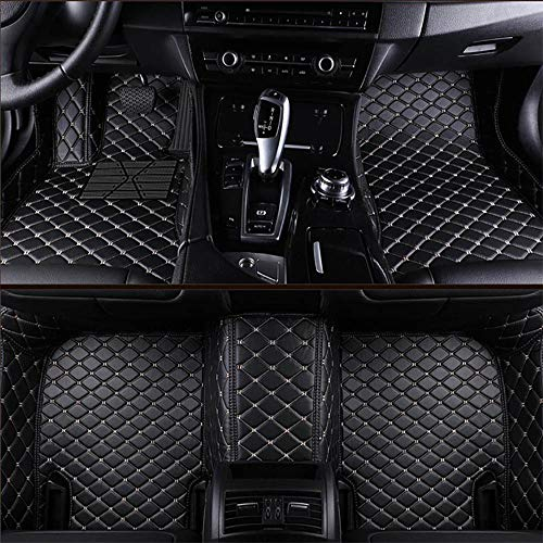 VEVAE Custom Car Floor Mats for BMW X5 E70 5 Seats 2007-2013 Laser Measured Faux Leather, All Weather Full Coverage Waterproof Carpets XPE Car Liner (Black with Beige Stitching)