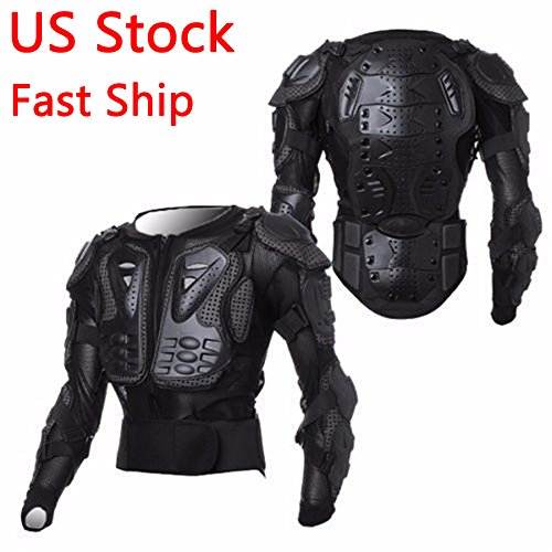 LEAGUE&CO Motorcycle Full Body Armor Protector Pro Street Motocross ATV Guard Shirt Jacket with Back Protection Black 2XL
