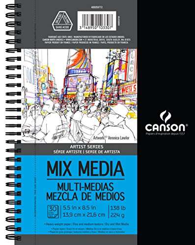 Mixed Media Journals - Canson Artist Series Mix Media Paper Pad for Wet or Dry Media, Dual Surface- Fine or Medium, Side Wire Bound, 138 Pound, 5.5 x 8.5 Inch, 30 Sheets