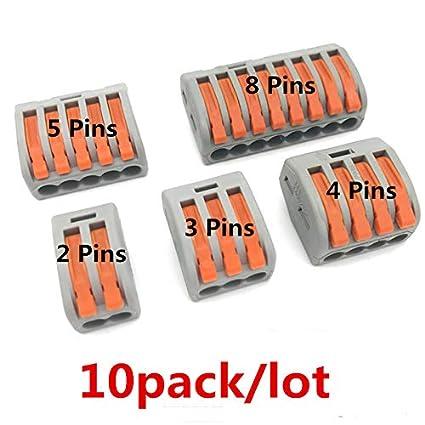 gris Lot de 10 connecteurs m/étalliques compacts universels Quick Terminal Block LED pour maman