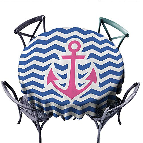 - Anchor Decor Collection Patterned Tablecloth Simple Horizontal Zig Zag Geometric Pattern Welcoming Maritime Stripes Artwork Design Waterproof Table Cover for Kitchen (Round, 70 Inch, Cobalt Magenta)
