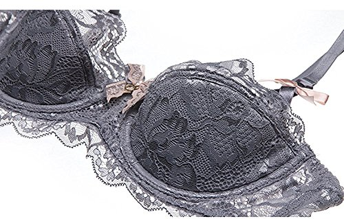 Reinhar Women's Everday Basic Comfortable Lace Sexy underwear bra Thin cotton Half cup comfortable breathable bra Bra (Sexy Maid Lingere)