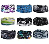 Swesy Multifunctional 16-in-1 Seamless Tube Skull Cycling Face Shield Mask - Breathable Windproof Headband Bandanas Face Scarf Outdoor Riding & Casual UV Protection (Pack of 9)