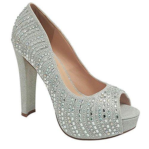 De Blossom Collection Mujeres Sparkle Rhinestone Shimmer Party Shoe Con Tacón Grueso (6.5, Plateado)