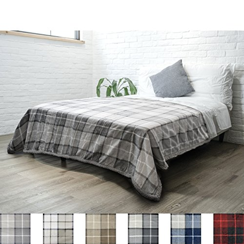 PAVILIA Premium Plaid Sherpa Fleece Bed Blanket Twin Size   Super Soft, Cozy, Plush, Lightweight Microfiber, Reversible Bed Blanket for Couch, Sofa, Bed, All Season (Light Grey, 60 x 80 Inches) (Best Way To Clean Microfiber Sofa)