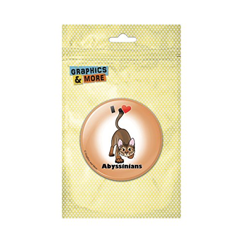I Heart Love Abyssinians Cat Pet Pinback Button Pin Badge - 1 Inch Diameter