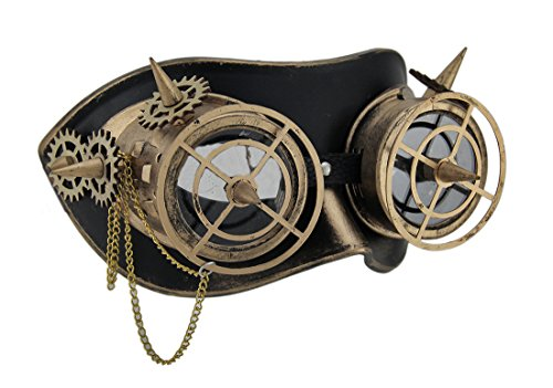Geared Up Spiked Steampunk Adult Goggles Mask w/Chain Gold ()