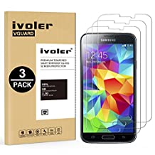 [3 Pack] Galaxy S5 / S5 Neo Screen Protector- iVoler Premium Tempered Glass Screen Protector for Samsung Galaxy S5 / S5 Neo - 0.2mm Ballistics Glass, 2.5D Round Edge, 9H Hardness Featuring Anti-Scratch, Anti-Fingerprint, Bubble Free- Lifetime Replacement Warranty