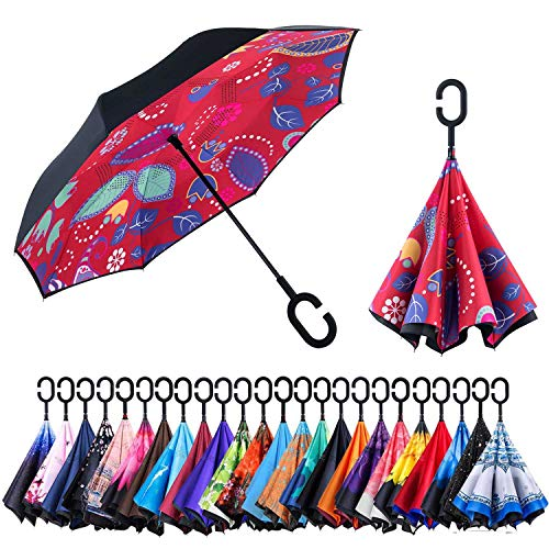 Newsight Reversible Umbrella - Dual Layer Inverted Umbrella, Self-Stand & C-Shape Hook to Free Hands, Reverse Inside Out Folding for Car Driver & Passenger, with Carrying Sleeve & PVC (Leaf Spirits)