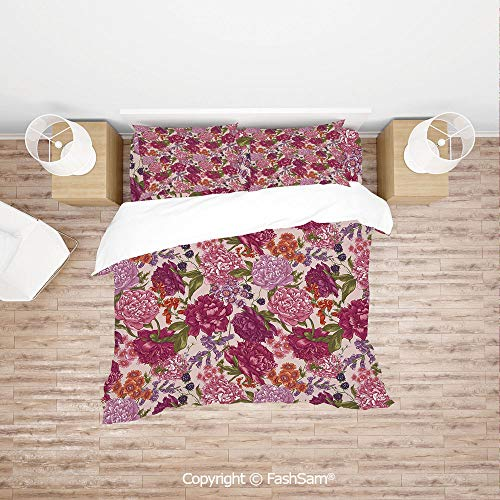 FashSam Duvet Cover 4 Pcs Comforter Cover Set Peonies BlackBerry and Wild Flowers in Vintage Style Colorful Nature Yard Decorative for Boys Grils ()