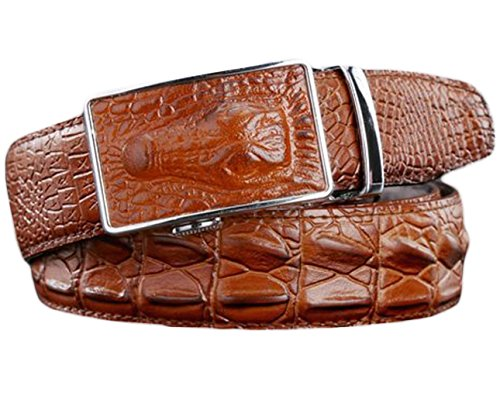 Ayli Men's Genuine Leather Ratchet Belt, Alligator Embossed Brown, Fits All Pant Sizes Below 44