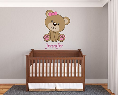 (Custom Name Teddy Bear - Prime Series - Baby Girl - Nursery Wall Decal For Baby Room Decorations - Mural Wall Decal Sticker For Home Children's Bedroom (J98) (Wide 12