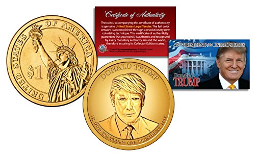 One Dollar Gold Coin - DONALD TRUMP Genuine 45th President PRESIDENTIAL DOLLAR $1 U.S. Coin GOLDEN-HUE