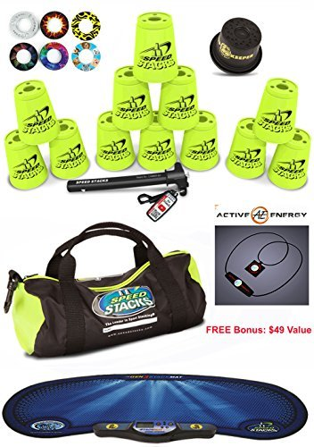 Speed Stacks Custom Combo Set - The Works: 12 YELLOW Cups, Cup Keeper, Quick Release Stem, Pro Timer, Gen3 Mat, 6 Snap Tops & Gear Bag + FREE Bonus: Active Energy Power Balance Necklace $49 Free