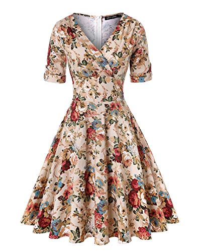 MINTLIMIT Women's Floral Printed Rockabilly Vintage Dress 1950s Retro Cocktail Swing Party Dress (Floral Apricot,Size L)