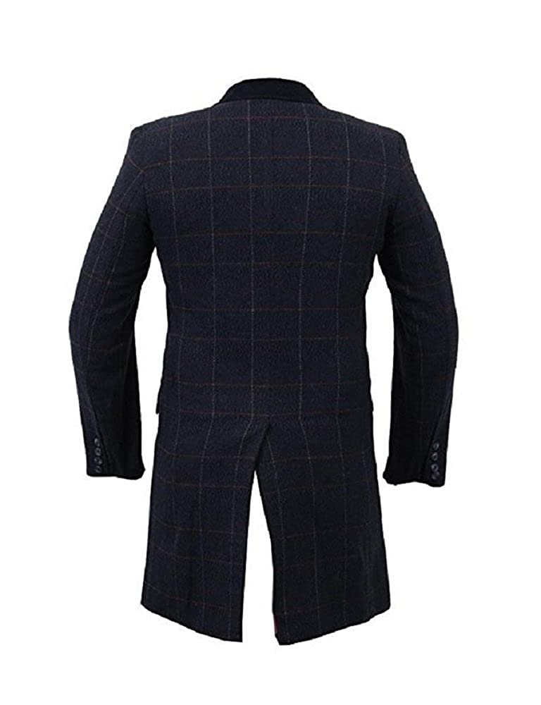 homme mélange laine slim fit à carreaux Manteau tweed chevron Crombie DE LUXE MANTEAU Bleu Marine À Carreaux