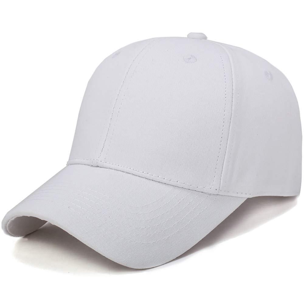Toponly Solid Color Outdoor Sun Hat Cotton Adjustable Snapback Hats Men's Women's Hip-Hop Flat Bill Baseball Caps 56~60cm White