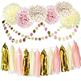 Bridal Shower Decorations Tissue Pom Pom Pink Cream Glitter Gold Tissue Paper Pom Pom Paper Tassel Garland Polka Dot Tissue Poms for Girl Baby Shower Decorations Pink Gold Party Decor First Birthday