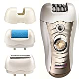 Sminiker 3 in 1 Lady Waterproof Rechargeable Hair Removal Kit ( Bikini Trimmer, Hair Epilator, Callus Remover ) with 2 Mode Power Switch, LED Hair Shaver for Arm, Underarm, Bikini Line & Legs (Purple)