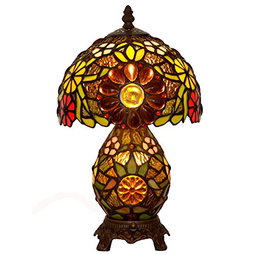 Bieye L10184 8-inches Sunflower Tiffany Style Table Lamp with Stained Glass Shade and Zinc Base, Double Lit (Yellow Sunflower) (Tiffany Sunflower Style)