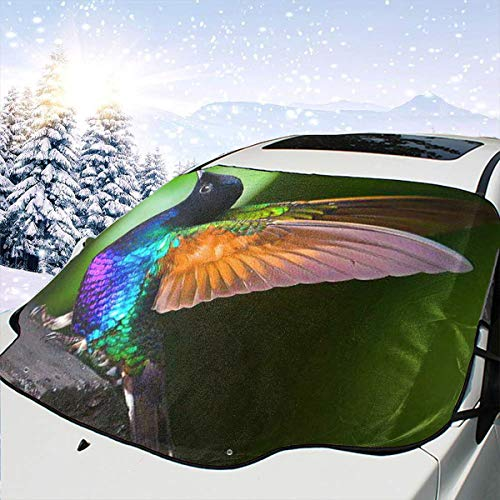 (HONGSH Car Windshield Snow Covers Sunshade Universal Colored Beautiful Bird Ice Defense No Scratches UV and Sun Protection Fit Most Cars)