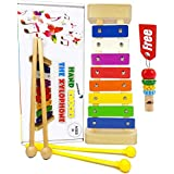 aGreat Shark Xylophone for Kids: Glockenspiel Toy Best Birthday Idea - with(Four) Child-Safe Mallets 2 Wood 2 Plastic, 3 Music Card & Whistle Included