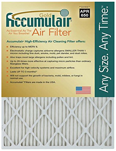 Accumulair FB21.5X24A_2 Actual Size Gold 1'' Filter Merv 8, 21.5'' L x 24'' W, 2 Piece
