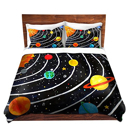 DiaNoche Designs Nicola Joyner Njoy Art Unique Home Decor Bedding Ideas Solar System Cover, 7 Queen Duvet Sham Set by DiaNoche Designs
