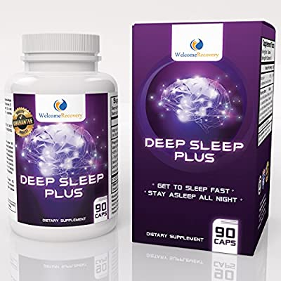 Deep Sleep Plus Natural Sleep Aid by Welcome Recovery - Non-Habit Forming Sleeping Pill - Valerian Root, Melatonin & Chamomile - Get to Sleep Fast, Stay Asleep All Night