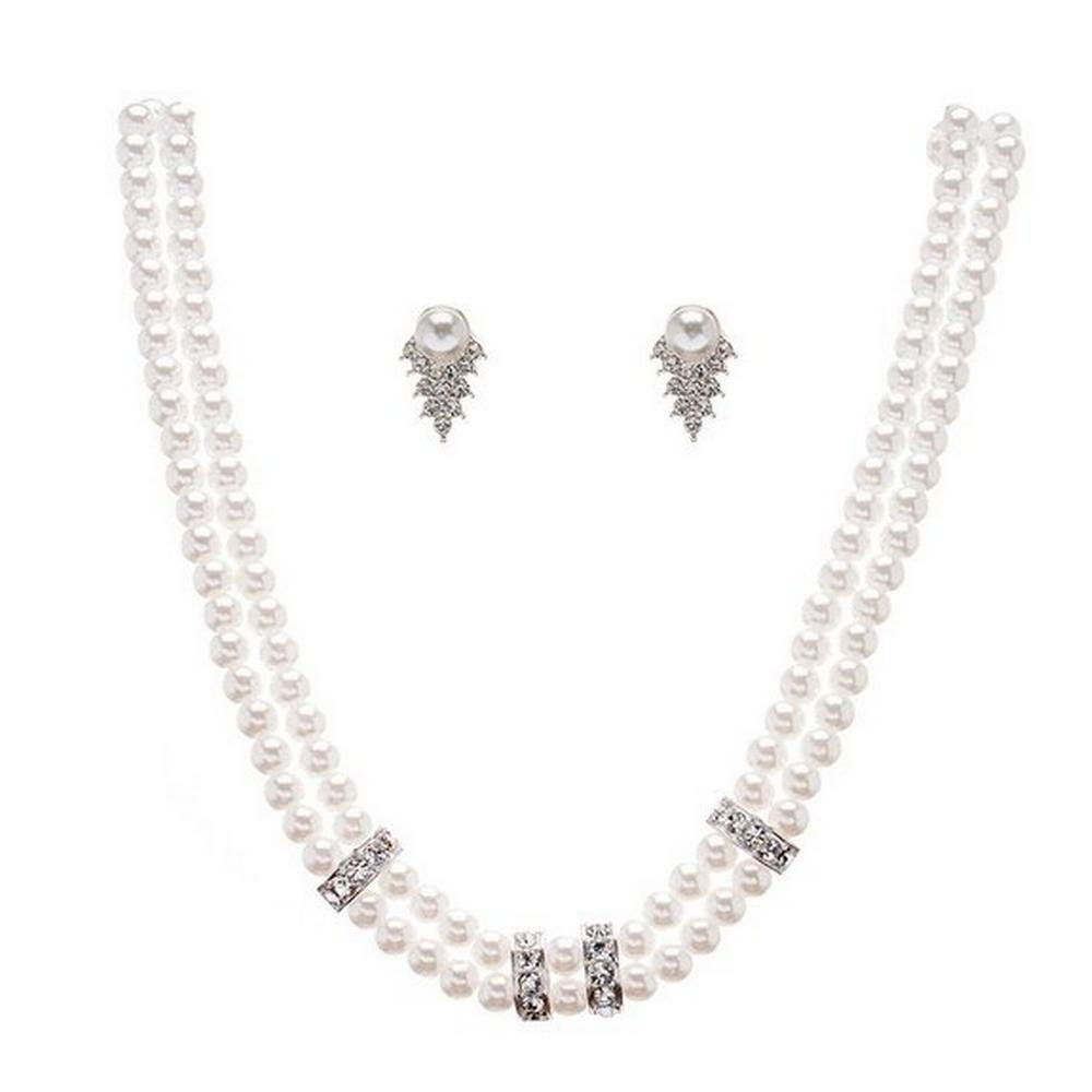 Fabulous Vintage Bridal Two Line White Pearl Necklace Earring Set W Silver Tone CD2