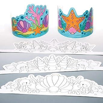 Coronas de sirena coloreadas (paquete de 8): Amazon.es ...