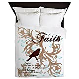 Queen Duvet Cover Faith Prayer Dove Christian Cross