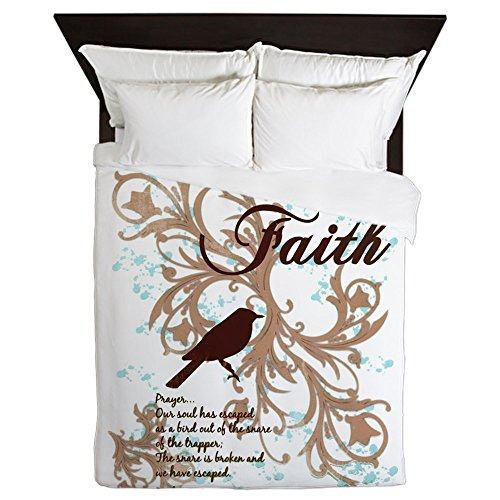 Queen Duvet Cover Faith Prayer Dove Christian Cross by Royal Lion