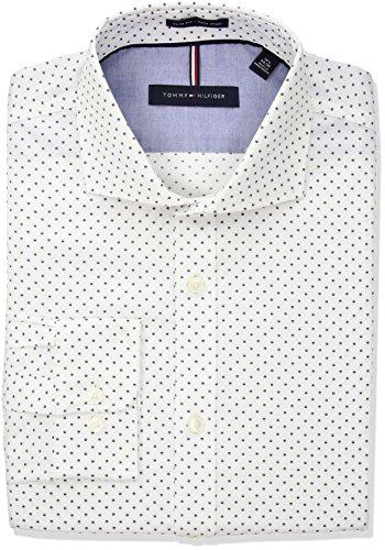 Tommy-Hilfiger-Mens-Non-Iron-Slim-Fit-Print-Cutaway-Collar-Dress-Shirt
