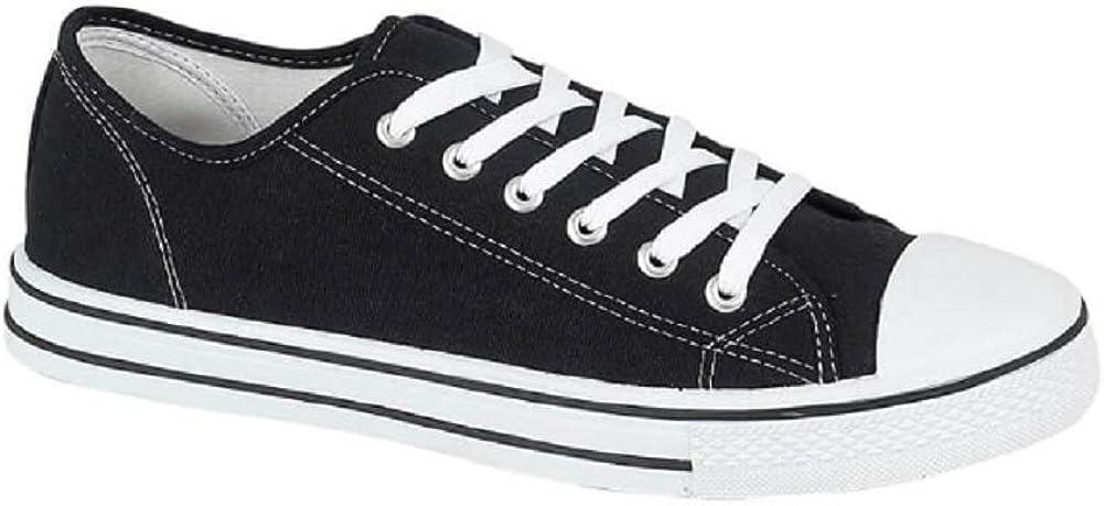 Plimsoles plimsolls shoes lace up pumps size Black