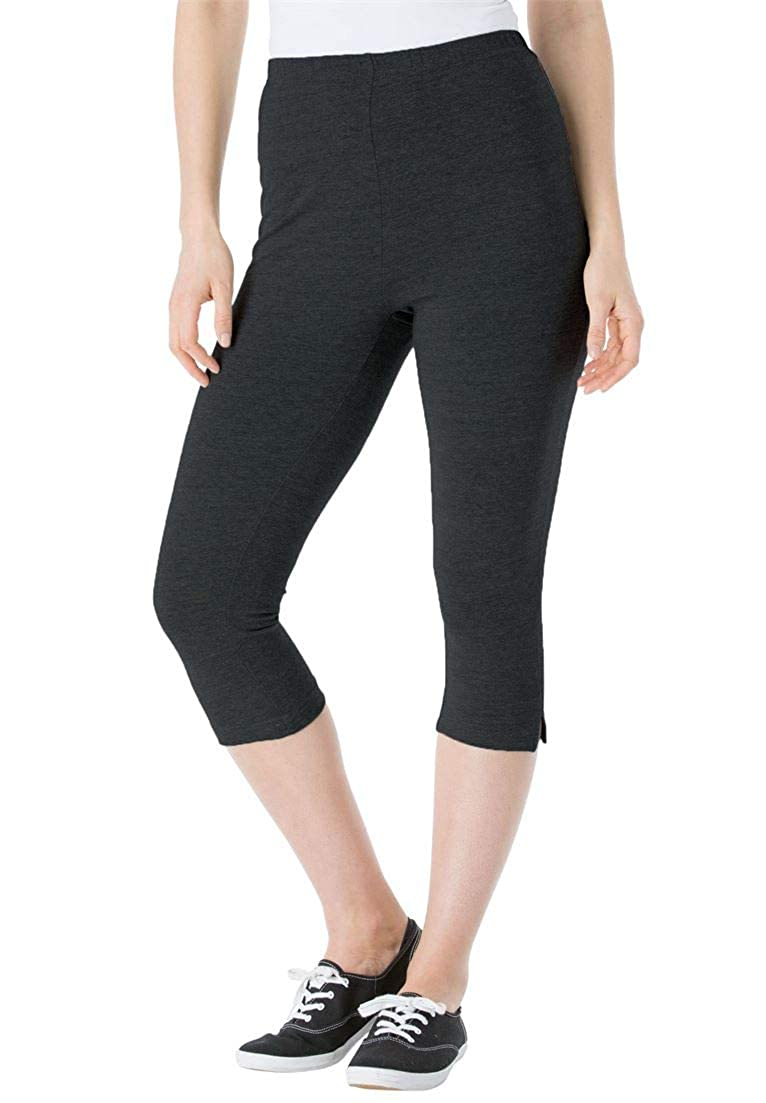 Woman Within Plus Size Stretch Cotton Capri Legging