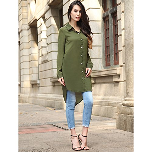 Mujeres Pequeño Lapel Botón Casual suelto Fit manga larga blusa media Verde