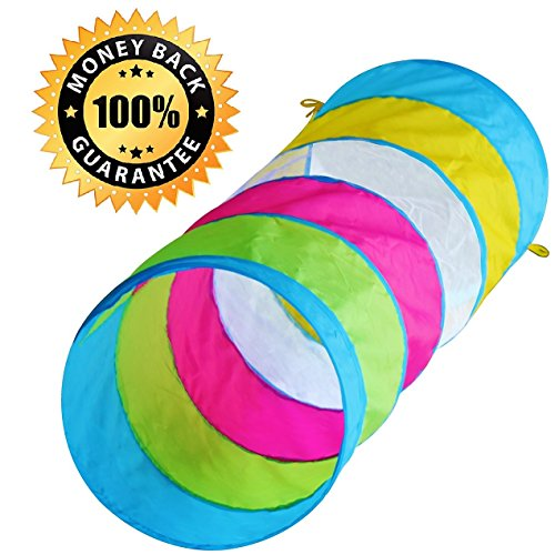 Hide N Side Kids 6ft Crawl Through Play Tunnel Toy, Pop up Tunnel for Kids Toddlers Babies Infants & Children Gift Indoor & Outdoor Tube by Hide N Side