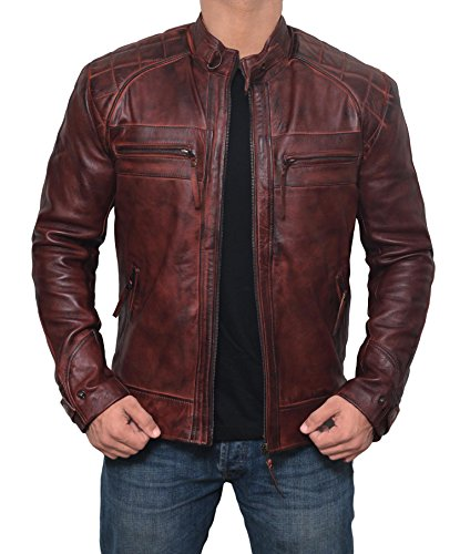 Mens Johnson Brown Express Moto Zipper Pocket Real Distressed Leather Jackets - L