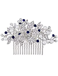 Ever Faith Silver-Tone Crystal Simulated Pearl Orchild Flower Bridal Hair Comb