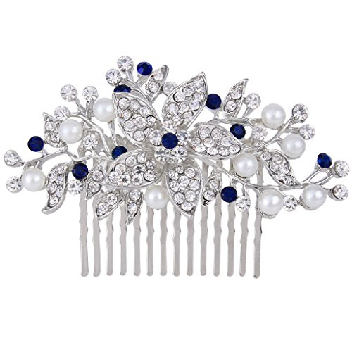 - EVER FAITH Silver-Tone Crystal Simulated Pearl Flower Leaf Vine Hair Comb Blue Sapphire-Color