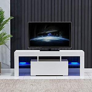 Galaga Meuble TV moderne avec espace de rangement pour le salon – corps blanc mat et porte brillante avec lumière LED