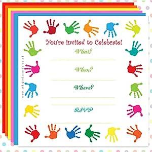 Rainbow manos .. pack de 10 tarjetas de invitación para fiestas cumpleaños de niños Multicolor diseño, diseño de caballos niños pequeños: Amazon.es: Hogar