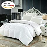 Queen Sized Comforter By DOZZZ: White Quilted Duvet Insert, Soft And Warm Polyester, Hypoallergenic Comforter For The Whole Family, Box Stitched With Plush Siliconized Fiber fill