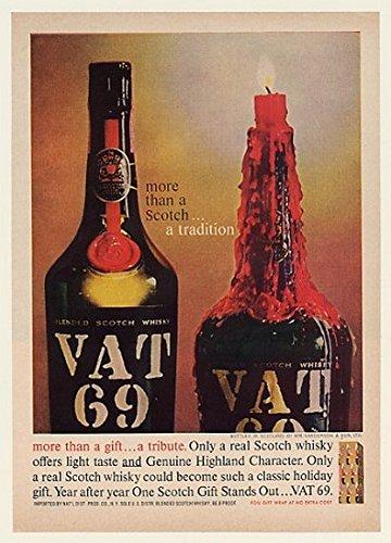1961 Vat 69 Scotch Whisky Bottle Candle Original Print Ad (51365)
