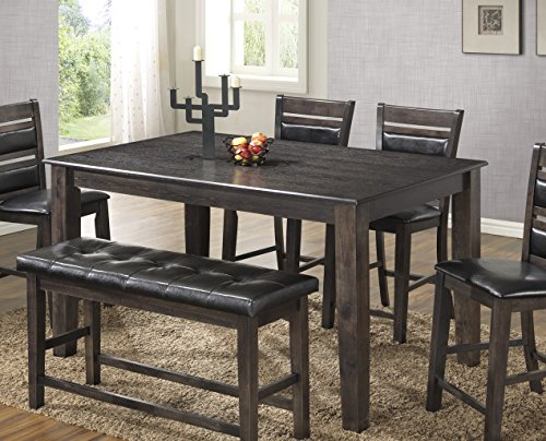 espresso dining table with bench - 5
