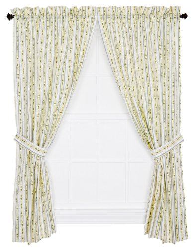 Ellis Curtain Cynthia Floral Stripe Print Tailored Panel Pair Curtains with Tiebacks, 68 by 84-Inch, Blue ()