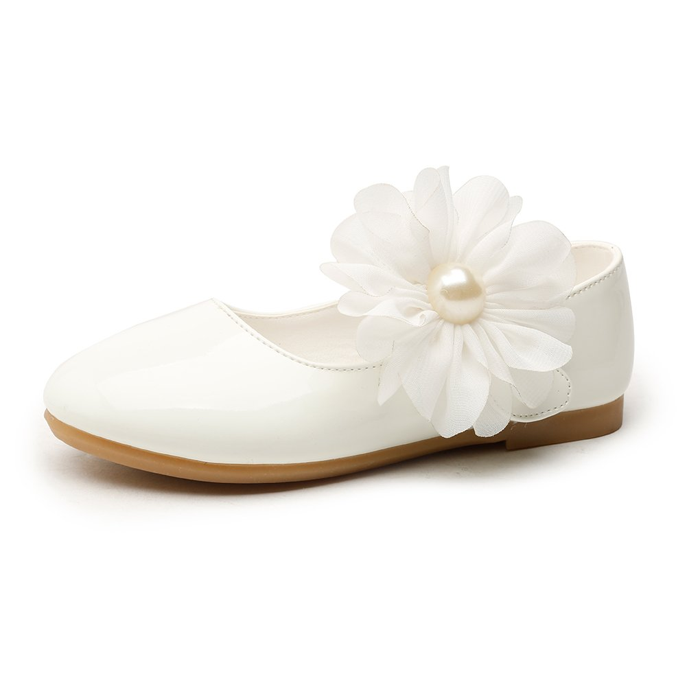 Chiximaxu Girls Ballerina School Flower Flat Shoes,White,Little Kid Size 1