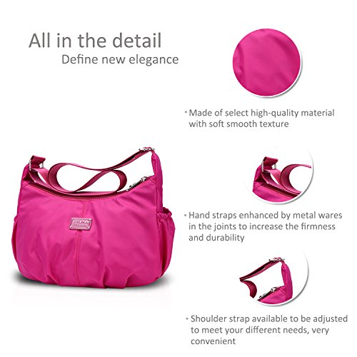 NICOLE Crossbody Bag Handbags Waterproof Shoulder Tote Bag Satchel Nylon Dark Pink Purse Hobo amp;DORIS Female Women WXrqnXY