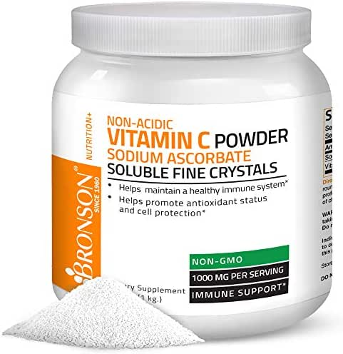 Non Acidic Vitamin C Powder Sodium Ascorbate Non GMO Soluble Fine Crystals - Healthy Immune System, Antioxidant and Cell Protection - 1 Kilogram (2.2 lbs, 35.3 Ounces)